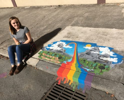 Audra Miller artwork on storm drain